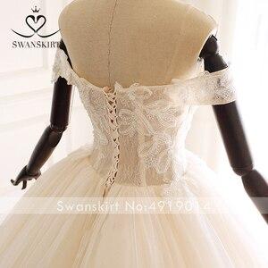 Image 5 - Swanskirt Appliques Beaded A Line Wedding Dress Sweethea Off Shoulder Princess Court Train Bridal Gown Vestido de Noiva A265