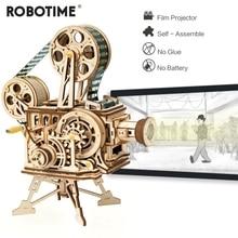Robotime 3D Hand Crank Film Projector Wooden Model Building Kits Assembly Vitascope Toy Gift for Children LK601