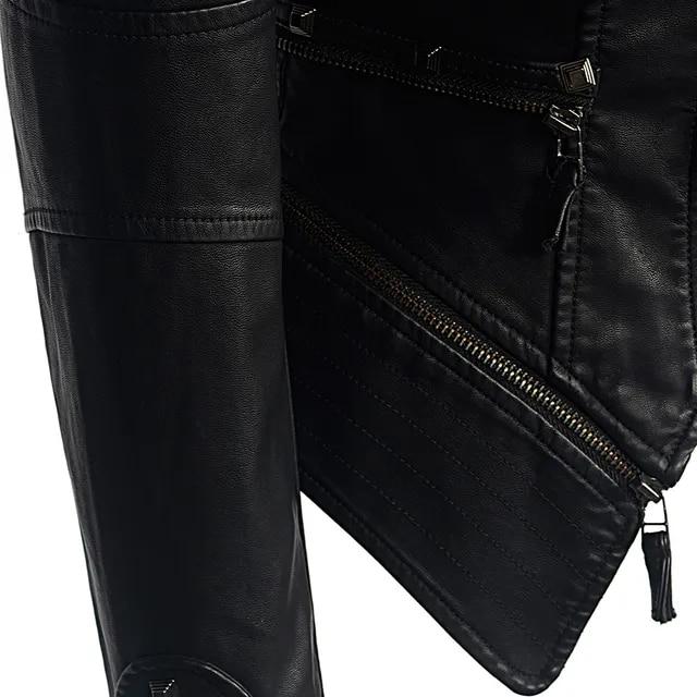 Coat Motorcycle Jacket Women Winter Autumn Black Fashion Outerwear faux leather PU Jacket Gothic faux leather coats
