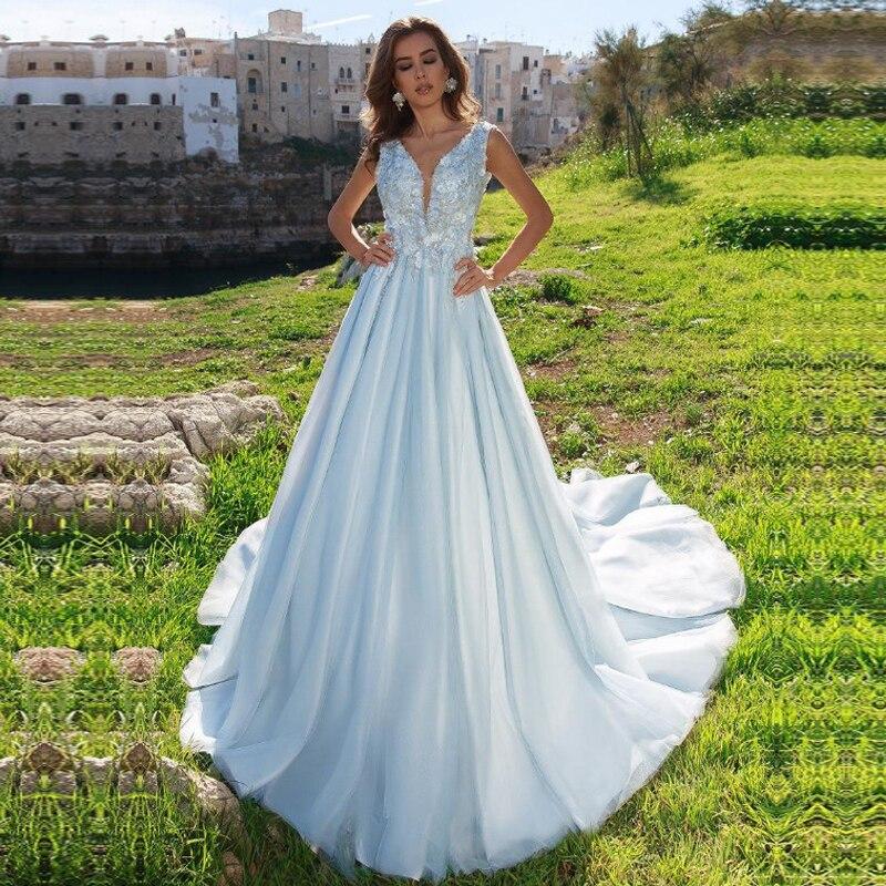 2020 Vestido De Noiva A-Line O Neck Wedding Dress Lace Appliques Bridal Dress Custom Made Wedding Gown Sweep Train Backless