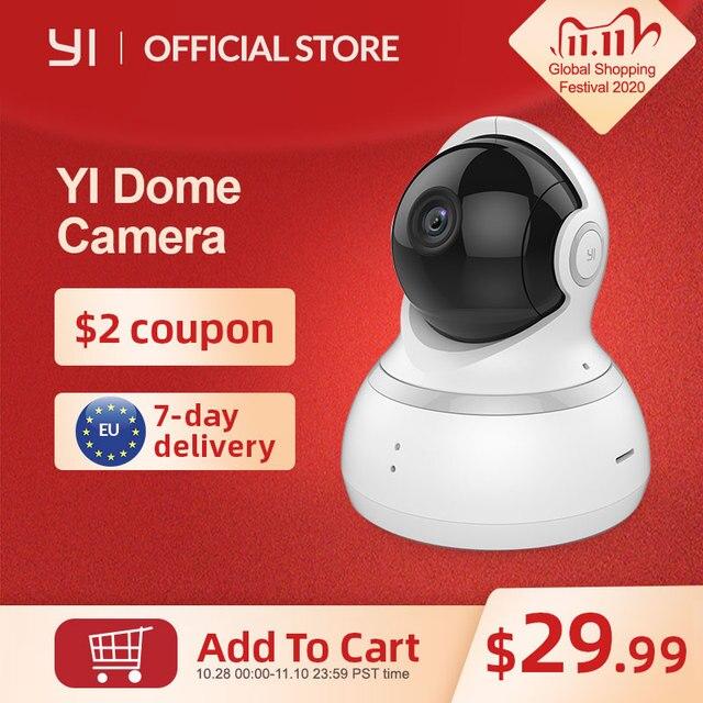 Купольная камера YI Dome 1080P, Камера 360 градусов, IP камера, Панорамирование/Наклон/Зум, Круиз контроль, Система ночного видения, Облачное хранилище
