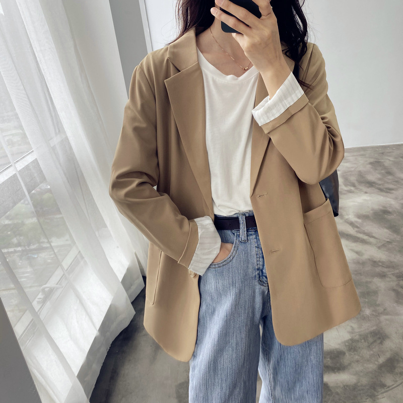 Fashionable Fall Women's Solid Color Blazer Jacket Work Office Lady's Western Fit Single-Breasted Business Women's Blazer Coat