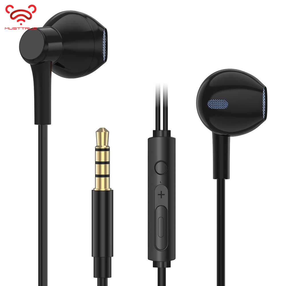 MUSTTRUE Half In-ear Stereo Bass Earphones Headphones 3.5mm jack wired control HiFi Earbuds Headset for iPhone Xiaomi Phone