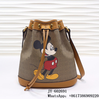 2020 Top Quality Mickey Women's Bags Print Drawstring One Shoulder Multipurpose Bucket Bag Luxury Designer Tasche