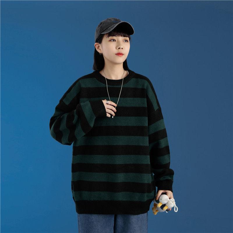 Moda verde e preto listra camisola de malha masculina e feminina outono inverno em torno do pescoço casual tendência pulôver vestuário