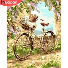 CUADRO DE ARTE pintado a mano con flores por números, pintura de HUACAN por números, cuadro artesanal, Kits de bicicleta, dibujo sobre lienzo, decoración del hogar