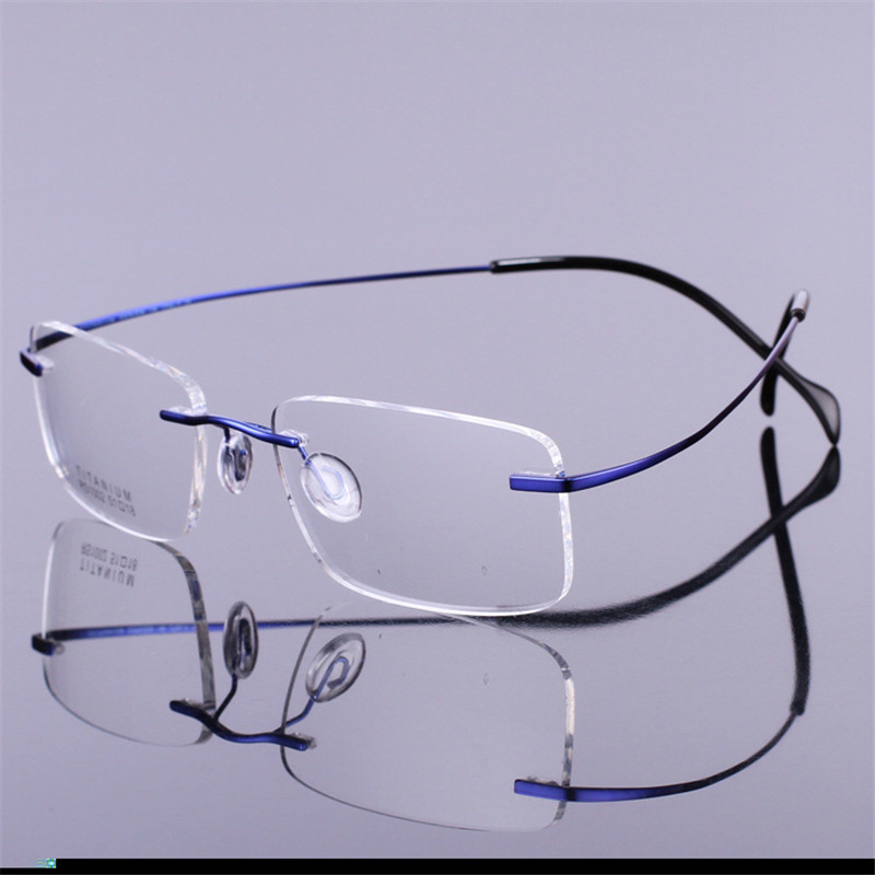 Titanium <font><b>Prescription</b></font> <font><b>Glasses</b></font> <font><b>Men</b></font> Women ultra light Man Rimless Spectacles Optic Eyewear multifocal <font><b>progressive</b></font> Woman image