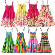 2021 Summer Girls Floral Dress Sling Ruffles Bohemian Beach Princess Dresses for Girl Clothing 2 6 8 12 Years With Necklace Gift