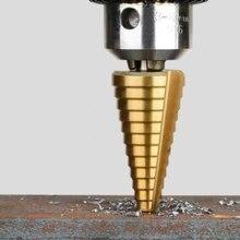 (3Pcs Sets 3-12mm 4-12mm 4-20mm) 1Pcs 4-22mm HSS Straight Groove Step Drill Bit Titanium