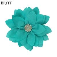 10 unidades/lote de tela Multy Layer de 9cm con botón de estrás, diadema de flor a la moda, accesorios para el cabello, Boutique DIY TH300