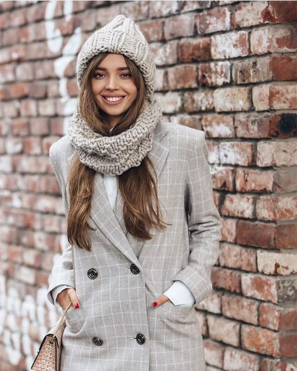Women Winter Knitted Beanies Hat Thick Soft Warm Coarse Large Knitted Solid Hat Female Ice Ski Bonnet Skullies Beanies Hat Cap 52