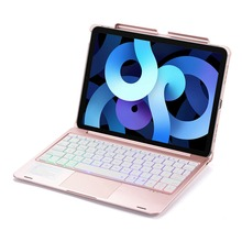 For iPad Air 4 4th 10.9 2020 LED RGB Backlight Wireless Bluetooth Russian/Spanish/Hebrew Mouse Pad Trackpad Keyboard Case Cover