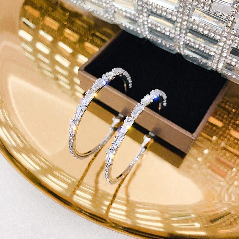 FYUAN Shine Round Geometric Zircon Hoop Earrings for Women Circle Crystal Earrings Jewelry Party Gifts