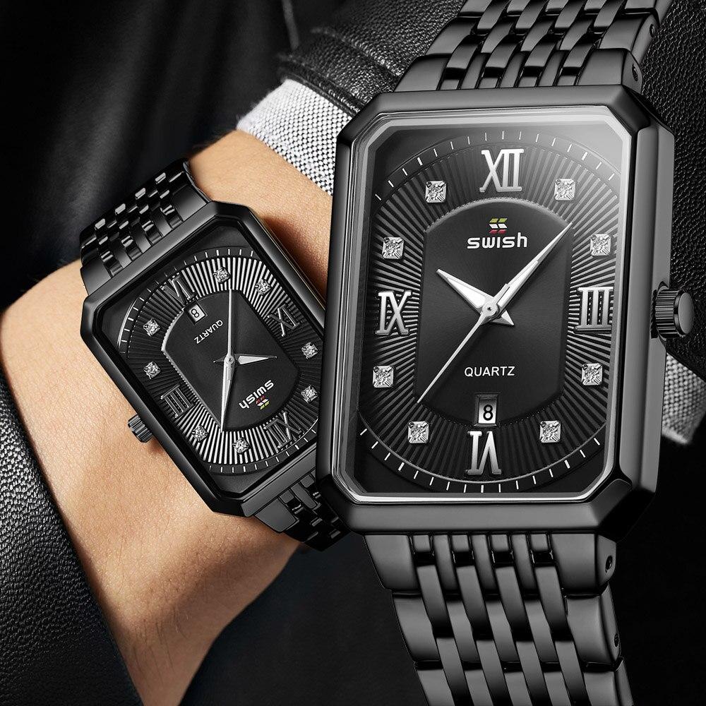 Black Watches for Men Warterproof Mens Watch Top Brand Luxury Clock Male Rectangle Business Quartz Wristwatch Relogio Masculino 6