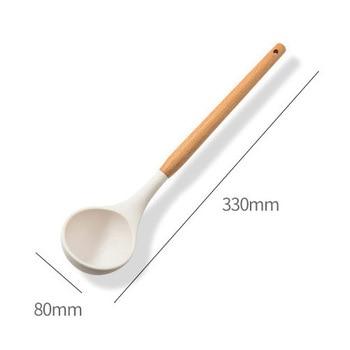 11PCS Silicone Kitchen Cookware High Temperature Resistant Non-Stick Wooden Handle Silicone Spatula Baking Tool With Storage Box - Poland, E