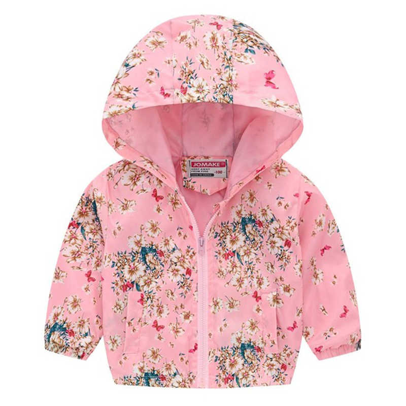 Girls Hoodies Jackets Spring Clothes Boys Jackets For Kids Zipper Windbreaker Baby Stylish Print Waterproof Infant Girls Coat