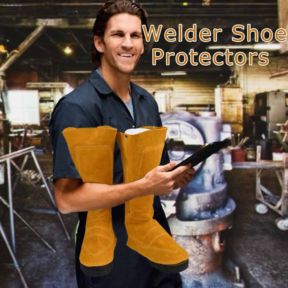 Welder's Feet And Shins Cover Boots Cowhide Protector Anti-fire Insulation Sputtering for Welding Metallurgy Feet Protection