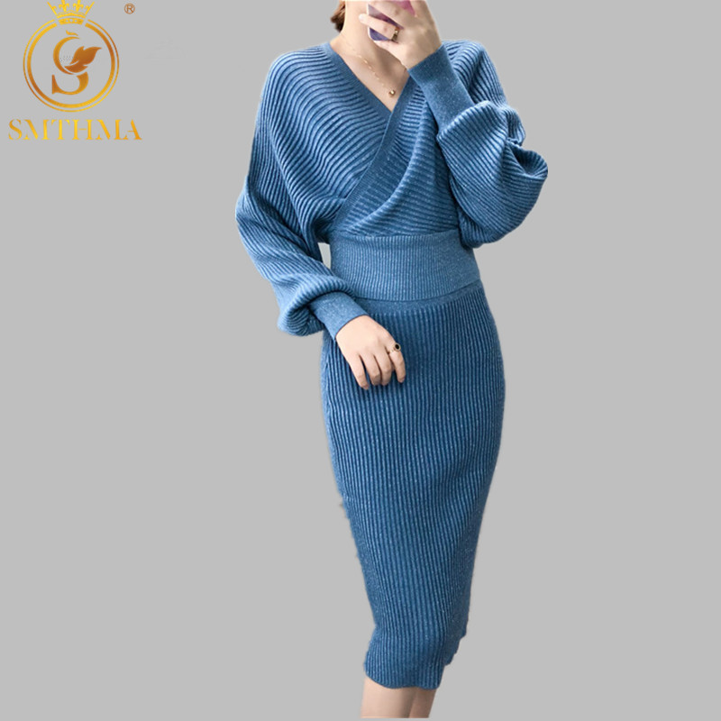 SMTHMA 2019 New Winter Knitted 2 Piece Set Women Batwing Sleeve V Neck Bright Sweater +elastic Waist Female Knitted Skirt Suit