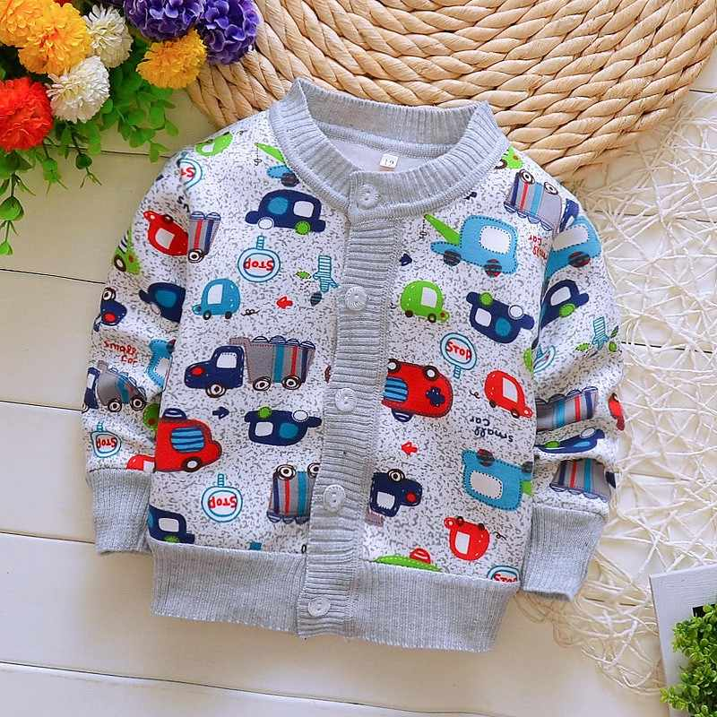 Boys Girls Sweaters Car Printed Coat Baby Cardigan Knitted Sweater Spring Fall Cotton Children Clothing Warm Outerwear
