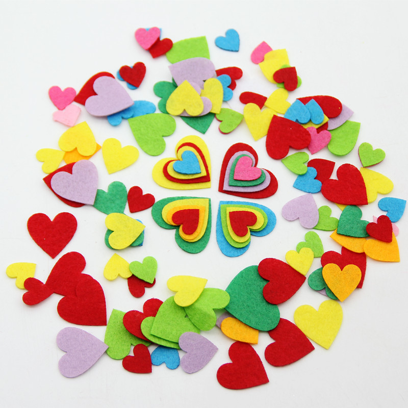 100pcs Mix Color Heart Felt Free Cutting Felts For Clothes Sewing Supplies Home Kids Room Decor Stickers Scrapbooking DIY Crafts