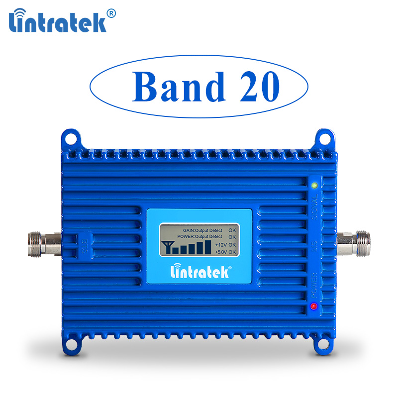 Lintratek 4G Signal Repeater Band 20 Booster 800MHz Mobile Phone Amplifier LTE 800 70dB AGC Hign Gain Signal Repeater 4G