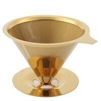 Filtro de café parede dupla aço inoxidável titânio ouro derramado no filtro de gotejamento de café com suporte de copo e alça