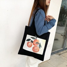 Women Bag Orange Printed Shoulder Canvas Bag Preppy Style Student Casual Tote Women Purses and Handbags trendy color block and canvas design women s tote bag