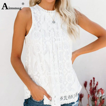 цена на Aimsnug Sleevelesss White Elegant Clothing Plus Size Solid Blouses Shirt Women Blouse Summer 2020 Womens Tops Tunic Lace Blusas