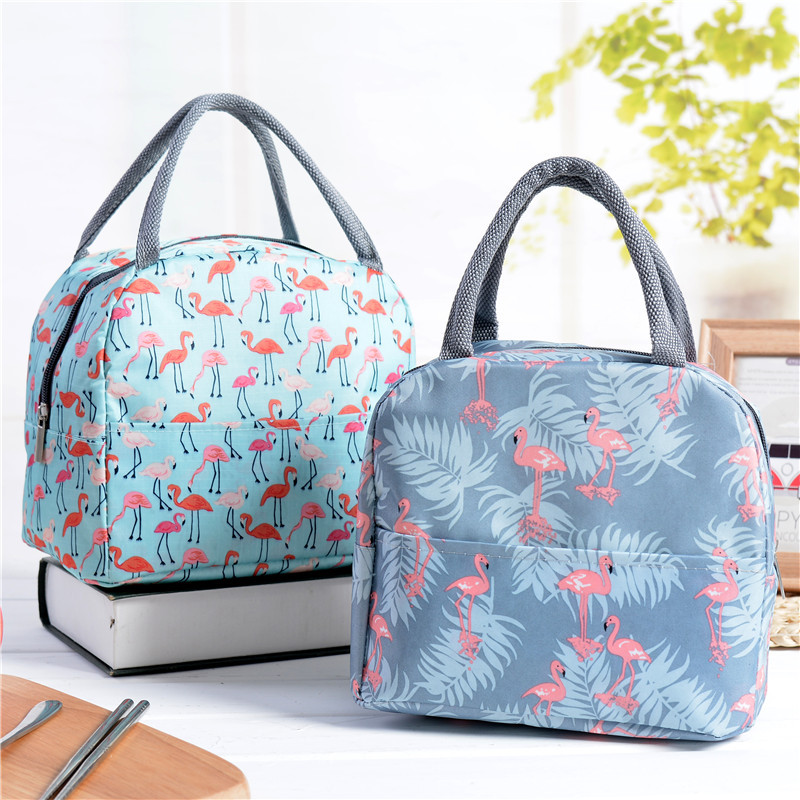 Fashion Cute Bird Portable Zipper Waterproof Lunch Bags Women Student Lunch Box Thermo Bag Office School Picnic Cooler Bag Bolso