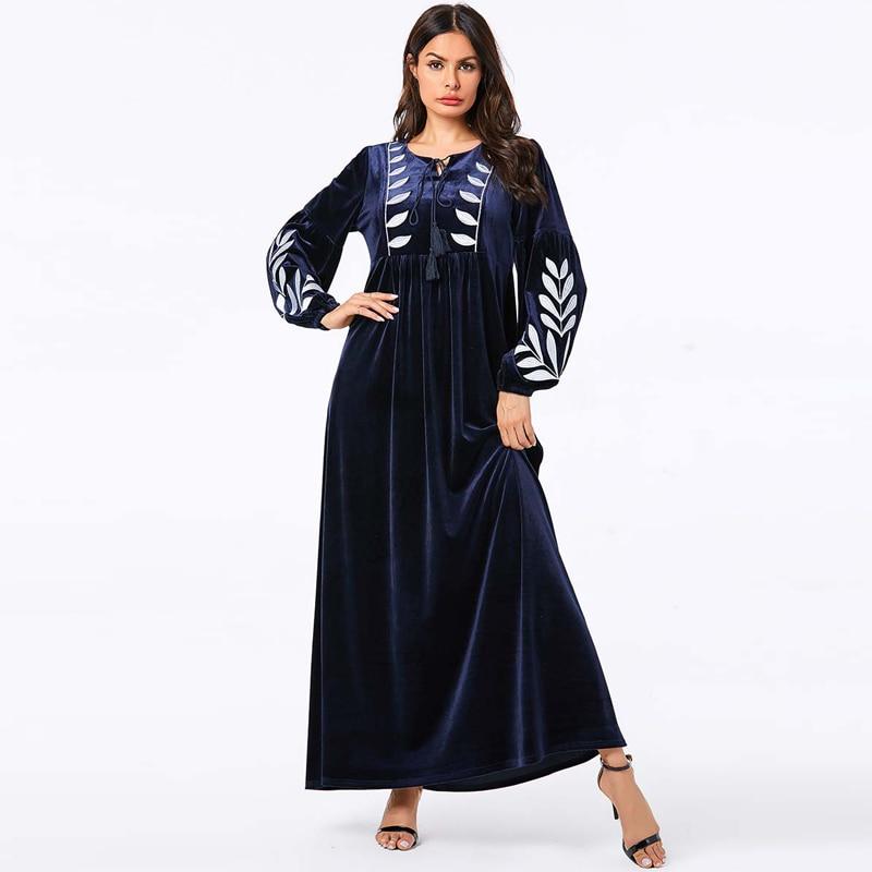 Winter Velvet Kaftan Abaya Turkish Hijab Muslim Dress Islamic Clothing Abayas For Women Islam Caftan Dubai Elbise Djelaba Femme