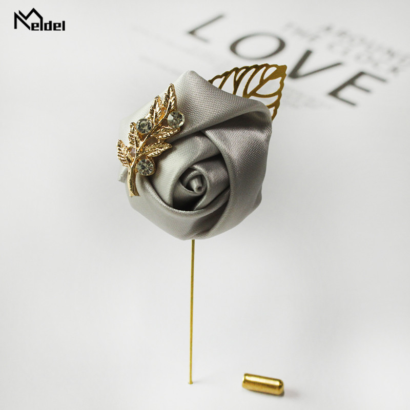Meldel Groom Boutonniere Men Wedding Witness Brooch Silk Rose Boutonniere Man Corsage Pins Wedding Boutonniere Flower Prom Party