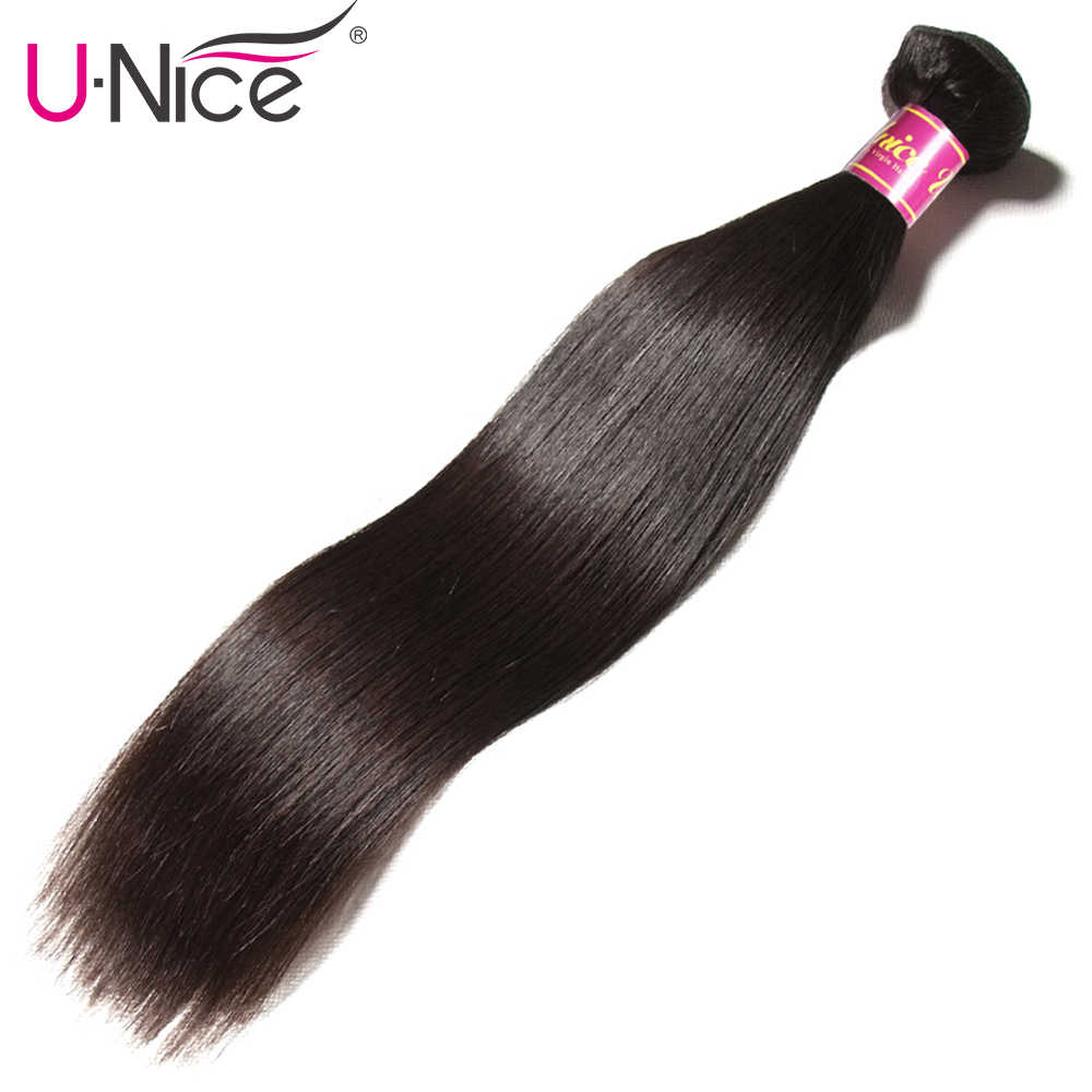 Unice Hair Straight Peruvian Human Hair Weave Bundles Natural Color Remy Hair Extensions 1PC Hair Weft 8-30 Inch