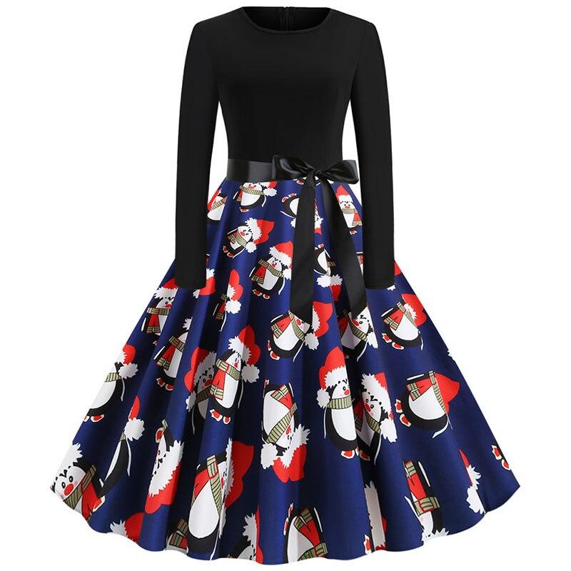 Black Print Christmas Dress Women Elegant Vintage Autumn Winter Long Sleeve Plus Size Casual Party Dresses Vestidos Robe Femme 6