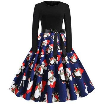 Women Christmas Long Sleeve Print Elegant Vintage Knee-length Party Dress Robe 2019 Autumn Winter Casual Plus Size Xmas Dress 5
