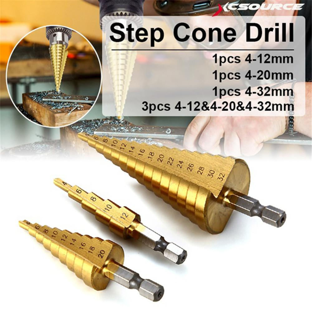 HSS Step Drill Cone Conical Bit Set Hole Milling Cutter Metric Titanium Coating Metal Hexagonal Handle Quick Replace Woodworking
