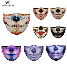 Masque facial en tissu réutilisable lavable, impression 3D, grande bouche, Grimace, série d'horreur, crâne d'halloween, à La mode, pour adultes