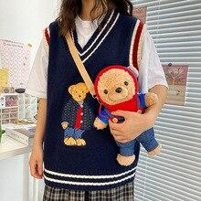 Fashion Cute Plush 3d Doll Messenger Bag Cartoon Bear Shoulder Bag Designer Bags  Women Bag