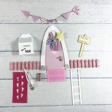 El yapımı pembe kemer peri kapı kızlar için harika bir hediye minyatür sihirli periler diş peri kapı seti toz karşılama Mat ayak yazıcı