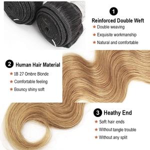 Image 2 - Bobbi Collection 1B 27 Indian Body Wave 2/3 Bundels Ombre Honey Blonde Bundels Met Sluiting 10 24 Inch Non Remy Human Hair Weave