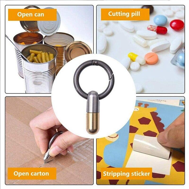 Stainless Steel Multi-Function EDC Portable Mini Tool, Key Ring Pendant Tool, Capsule Knife, Tiny Cutting Tool