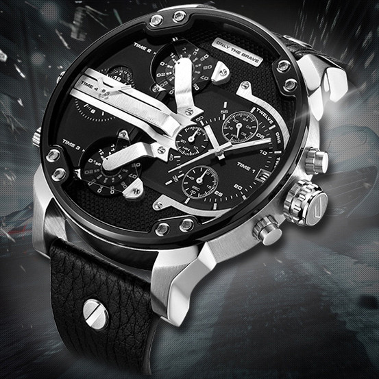 Top Brand Luxury <font><b>Watch</b></font> <font><b>52MM</b></font> Big Case Quartz <font><b>Watch</b></font> For Men Wrist <font><b>Watches</b></font> Dual Time Displays Military relogio masculino Male Clock image