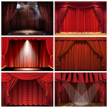 Laeacco Red Curtain Stage Light Circus Tent Baby Birthday Party Photography Backdrops Photo Backgrounds Photozone Photo Studio