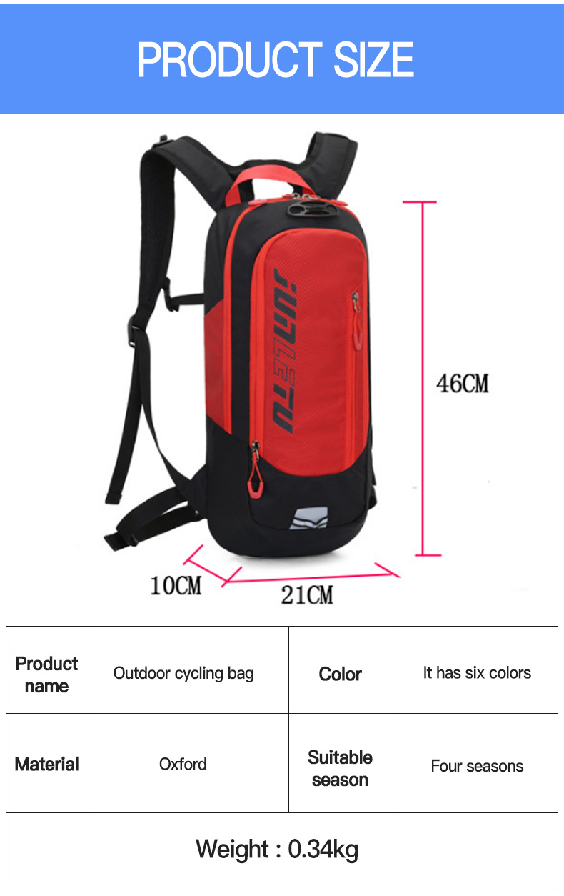 2021 New 10L Sport MTB Bike Backpack Water Cycle Bags Running Cycling Hydration Bicycle Backpacks with Reflector Strips XA126Q