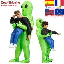 ET-Alien Gonfiabile Monster Costume Spaventoso Verde Alien Cosplay Costume Per Adulti di Ringraziamento Di Natale Festival Del Partito Della Fase