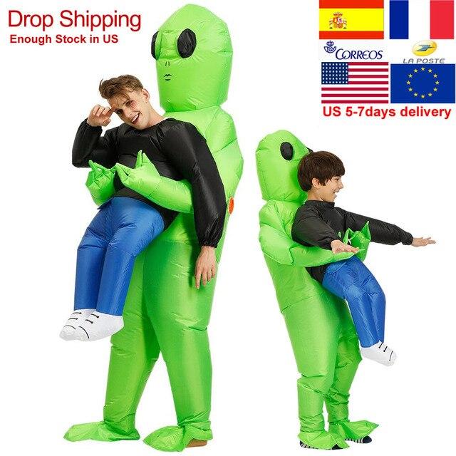 ET 외계인 괴물 풍선 의상 무서운 녹색 외계인 코스프레 의상 성인 Inlatable 의상 파티 축제 무대