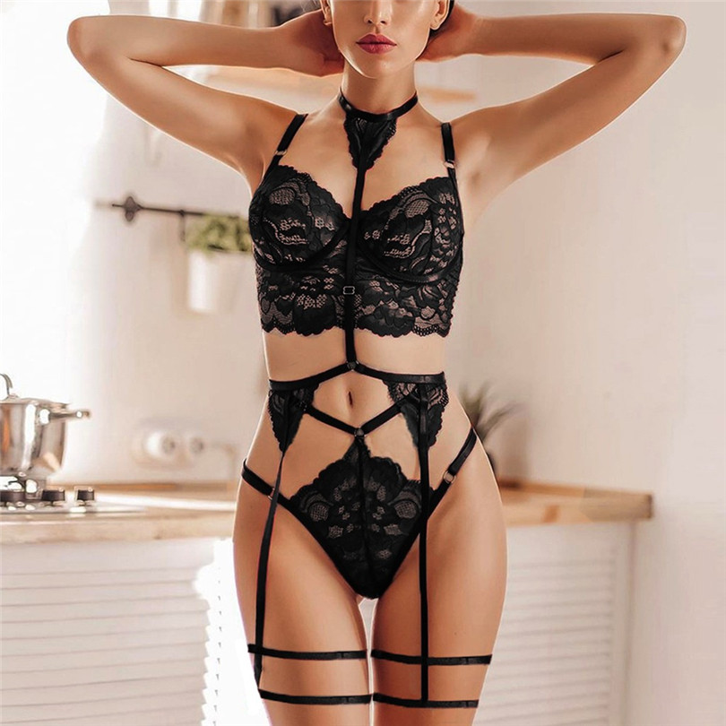3PC G-String Garter Bra Set S-3XL Sexy Erotic Lingerie Lace Flower Sexy Underwear Plus Size Soutien Gorge Sexy Erotique 30NOV20