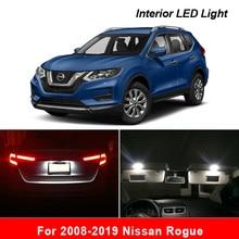 Dla 2008 2019 Nissan Rogue białe akcesoria samochodowe błąd Canbus Free LED zestaw oświetlenia wnętrza mapa czytanie Dome lampka tablicy rejestracyjnej