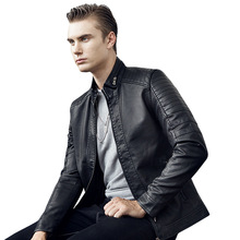 Men's PU leather jacket 2020 Autumn New Men's Casual Fashion Stand Collar Slim L