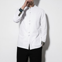 Nouveaux Hommes Chemises En Lin Coton Hauts Costume Tang Style Chinois À Manches Longues Décontracté Chemise Kung Fu Traditionnel Vêtements Multi Couleurs Rétro