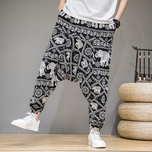 2020 homens verão outono bloomers masculino casual impresso solto algodão harem calças homens grande virilha calças homens hip hop baggy calças 3